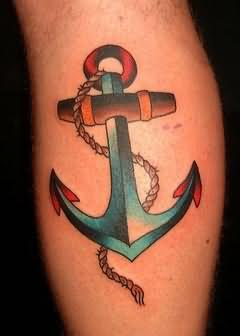 Colorful Anchor Symbol Tattoo With Rope