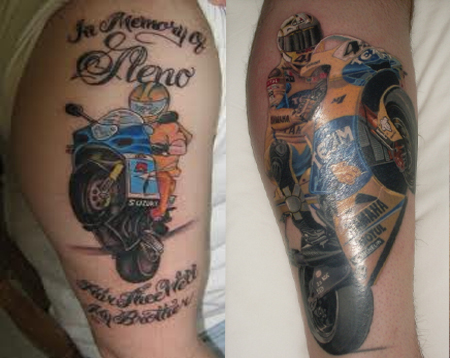 Colorful Bike Tattoo Design