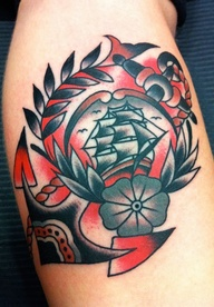 Colorful Pirate Ship Anchor Tattoo Design
