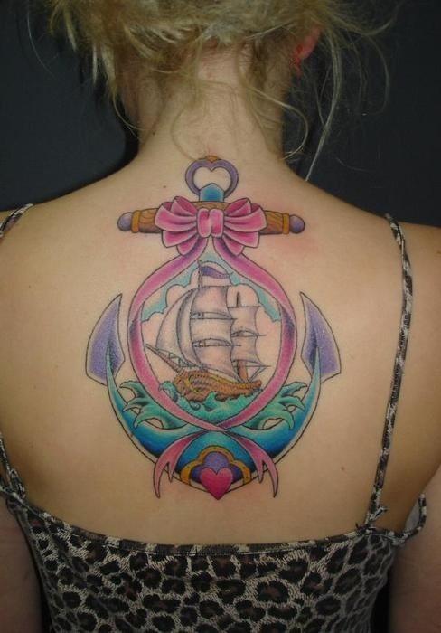 Colorful Pirate Ship & Anchor Tattoo