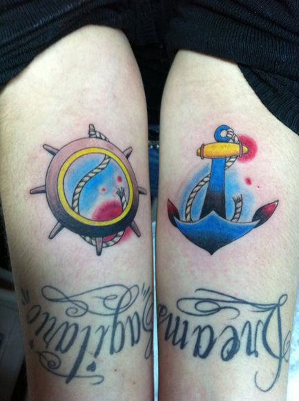Colorful Ship Steering Wheel & Anchor Tattoo On Thigh