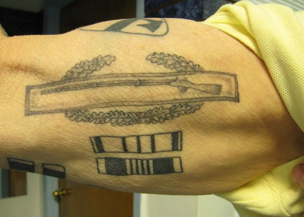 Combat Infantry Badge Army CIB Tattoo On Arm