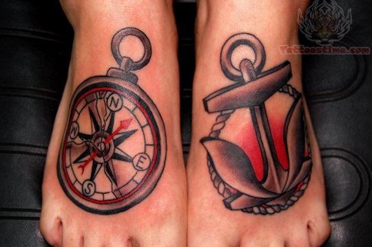 Compass & Anchor Symbol Tattoo On Feet