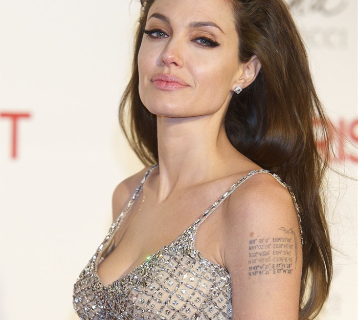 Cool Arm Tattoo Of Angelina Jolie