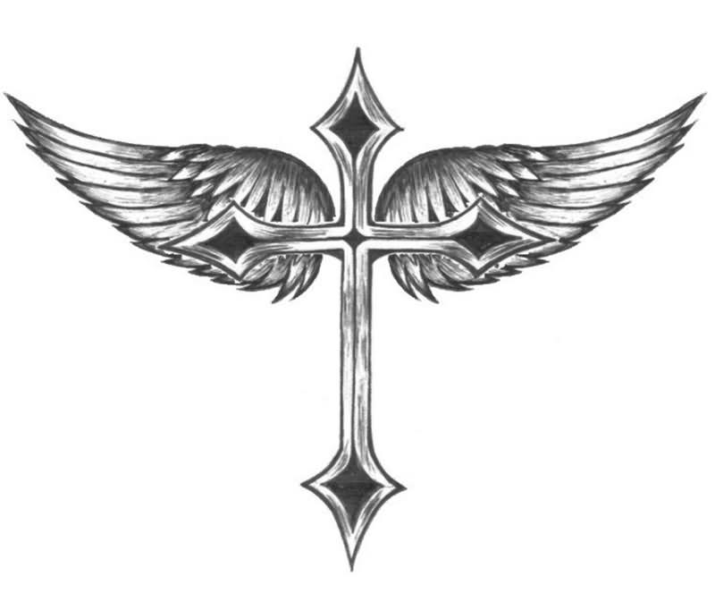 Angel Wings With Cross Tattoo Design