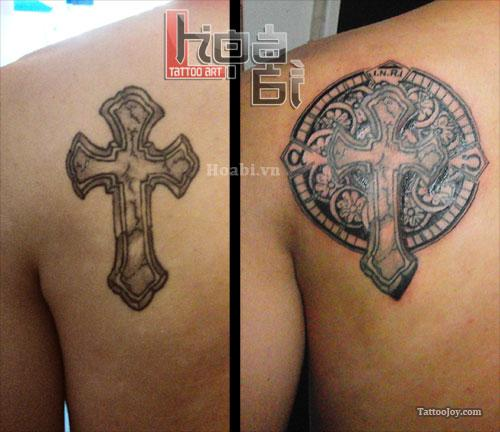 Cross with Asian Background Tattoo