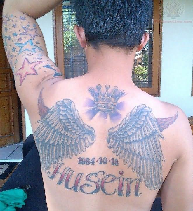 Crown Angel Wings Tattoo On Upperback
