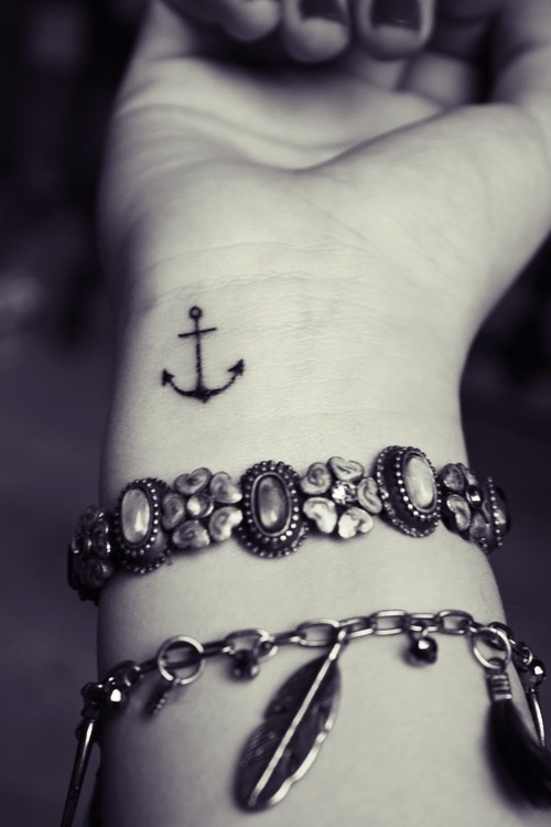 Cute Black Ink Wrist Anchor Tattoo