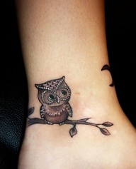 Cute Owl Bird Sitting Tattoo