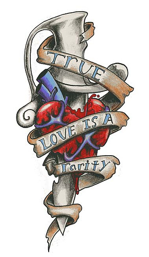 Dagger With True Love Banner Tattoo Design
