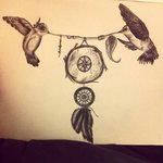 Dreamcatcher Birds Tattoo Design