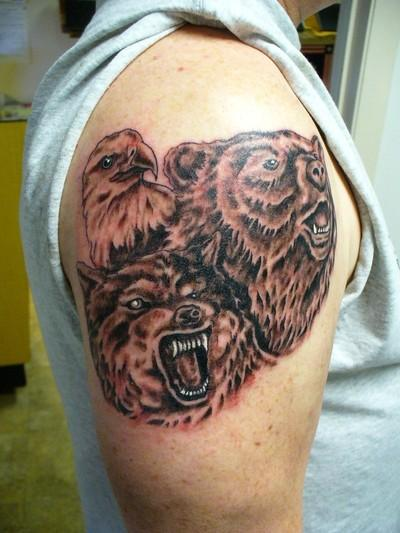 Eagle Wolf & Bear Face Tattoo On Shoulder