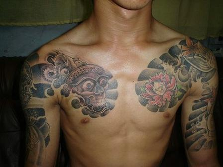 Asian Tattoo On Arm & Chest
