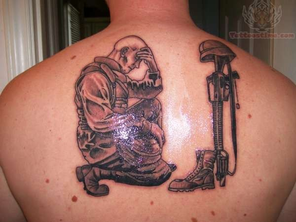Upper Back Fallen Army Soldier Tattoo Design