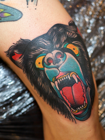 Fantastic Angry Bear Face Tattoo