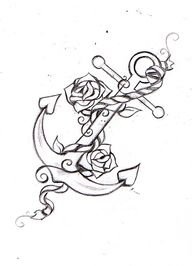 Fantastic Rope Anchor With Roses Tattoo Design