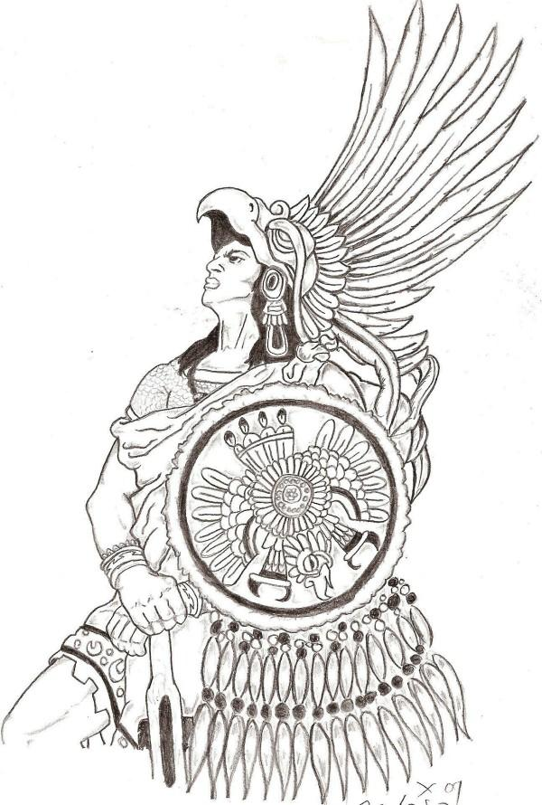 Aztec Warrior Tattoo Design