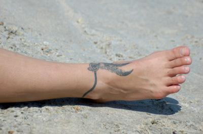 Feather Bracelet Ankle Tattoo Design