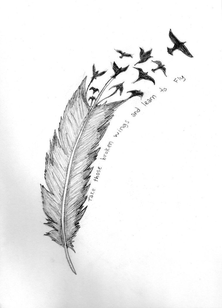 Feather Turning Into Birds Tattoo Design