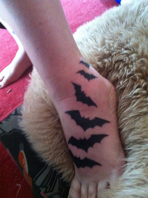 Flying Bats Tattoo On Foot