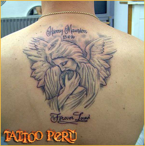 Forever Loved Angel Tattoo Design