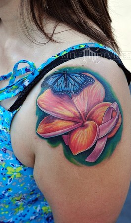 Flower Butterfly & Breast Cancer Ribbon Tattoo On Shoulder