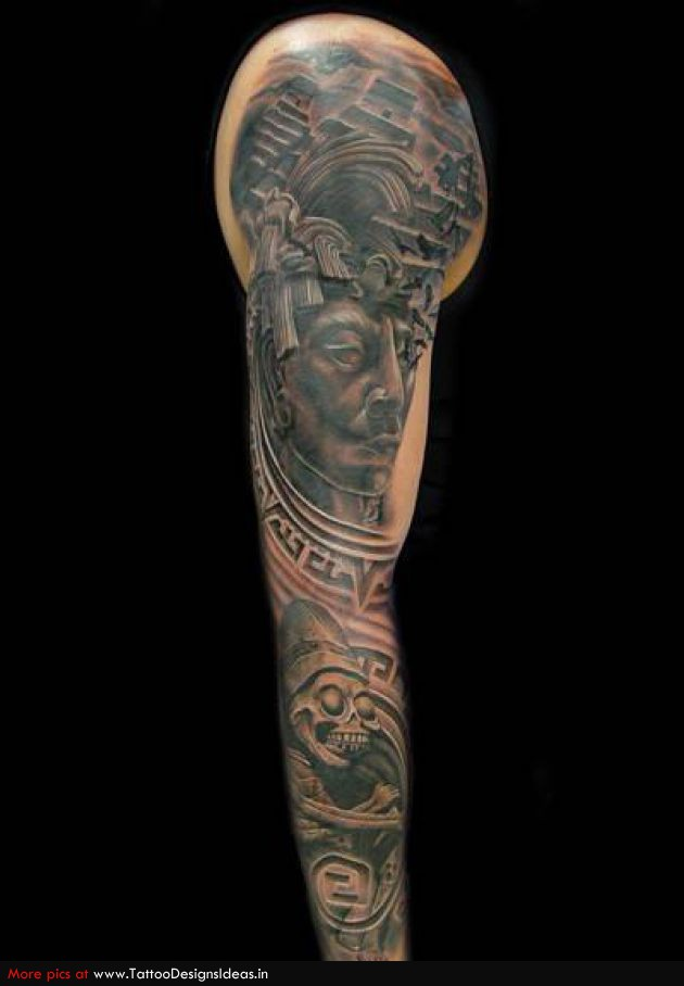 Full Arm Aztec Tattoo
