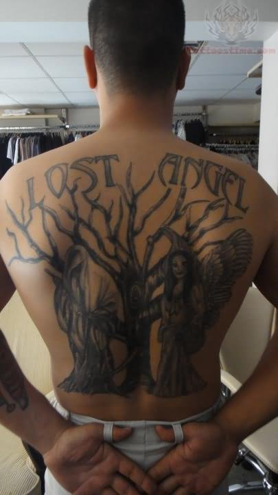 Lost Angel And Tree Tattoo
