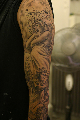 Full Sleeve Angel Tattoo Design