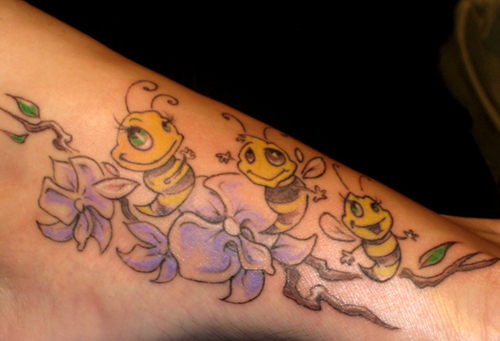 Funny Bee Tattoo Designs