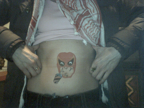Funny Belly Button Tattoo Design