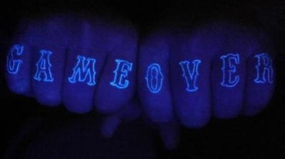 Game Over Blacklight Tattoo On Fingers