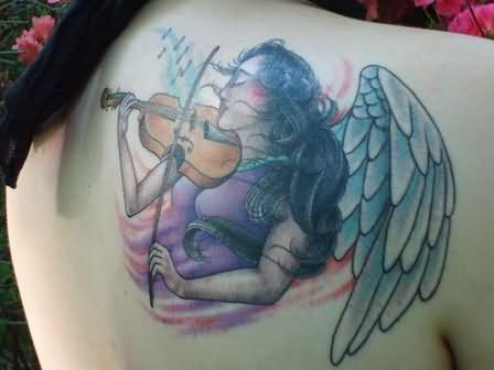 Angel Girl Playing Guitar Tattoo Design