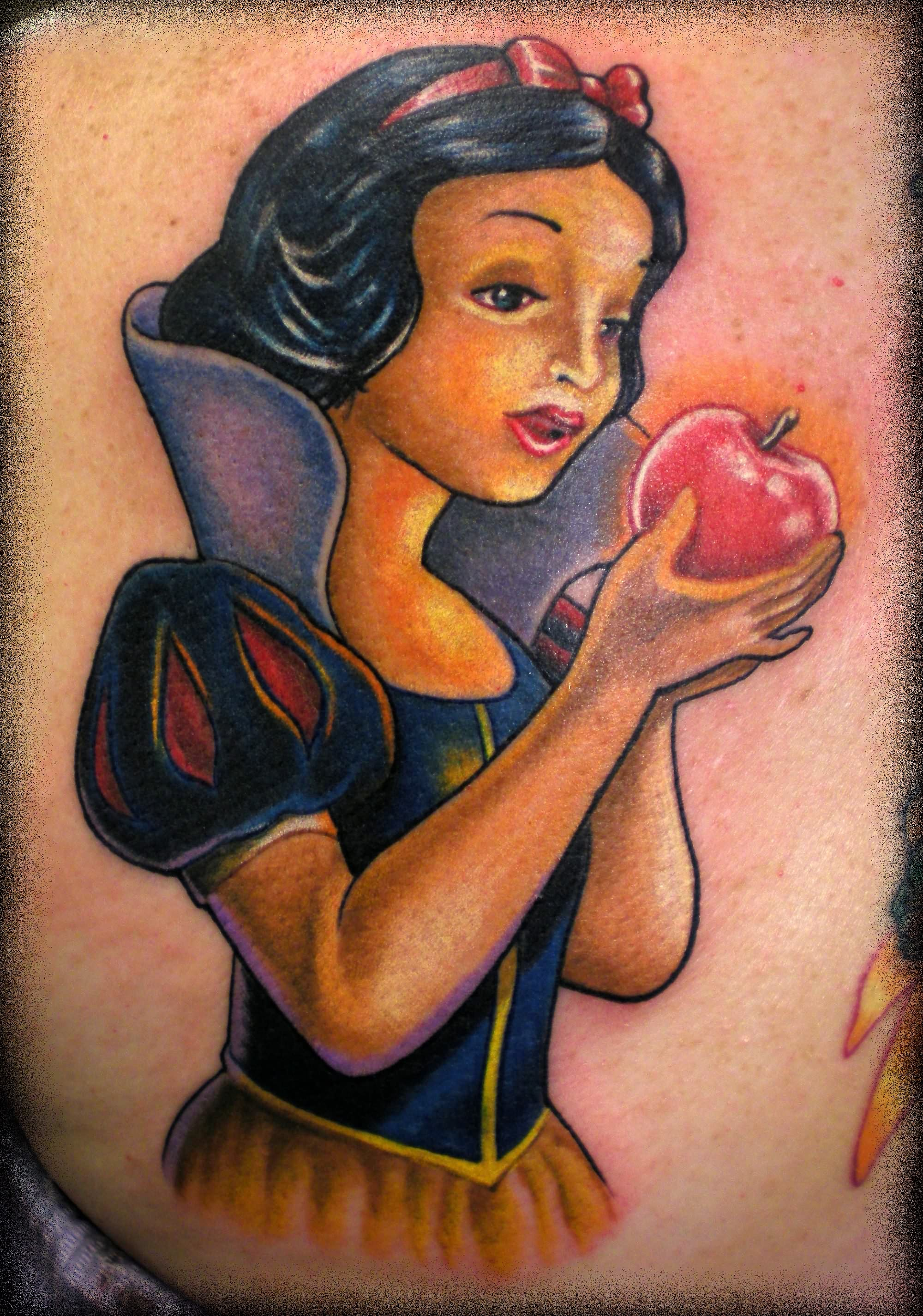 Girl Holding Red Apple Tattoo Design