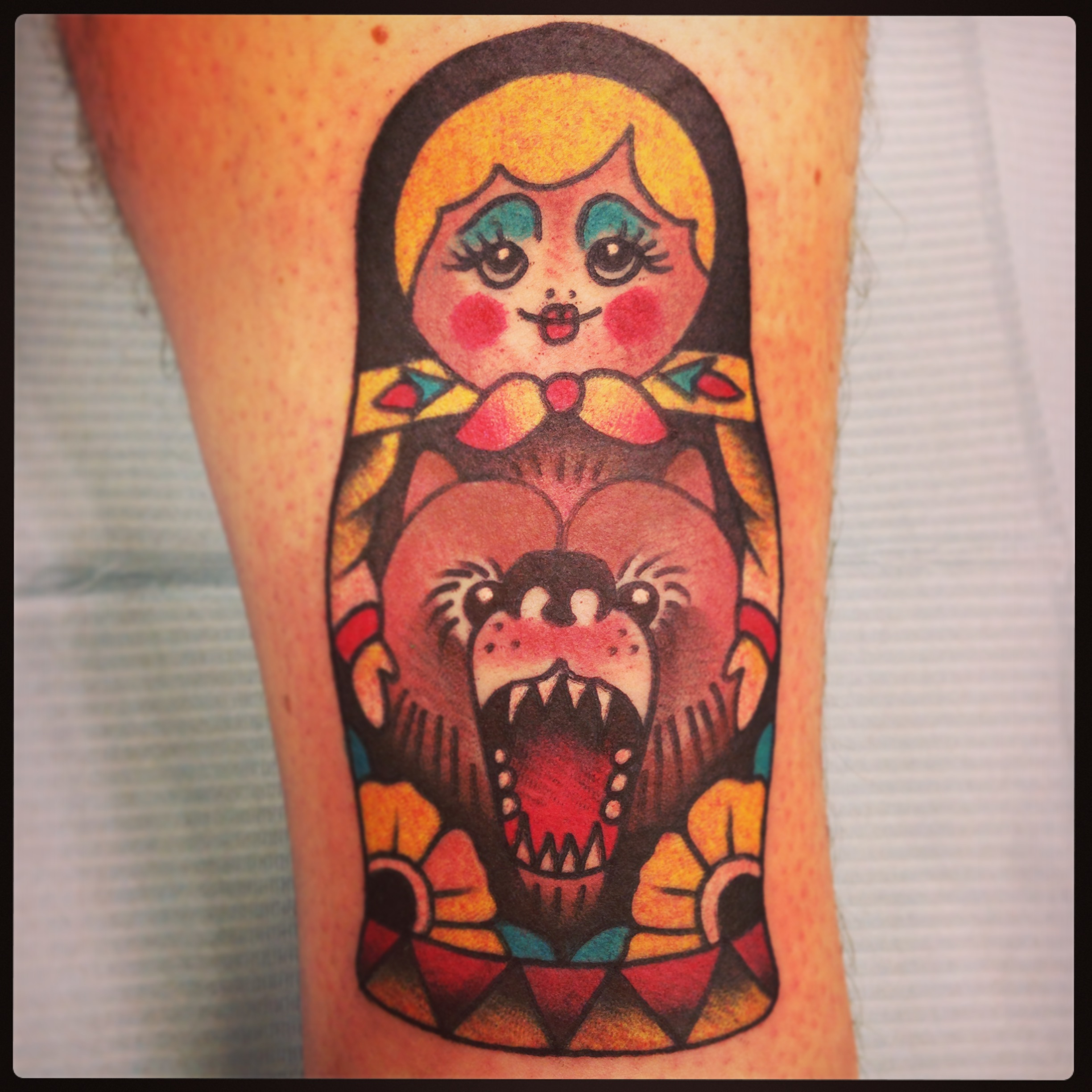 Girl With Bear Face Tattoo Design
