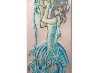 Girly Aquarius Tattoo Design For Girls