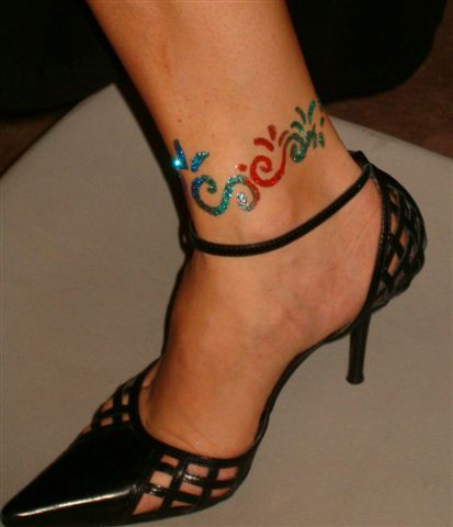Glitter Ankle Tattoo