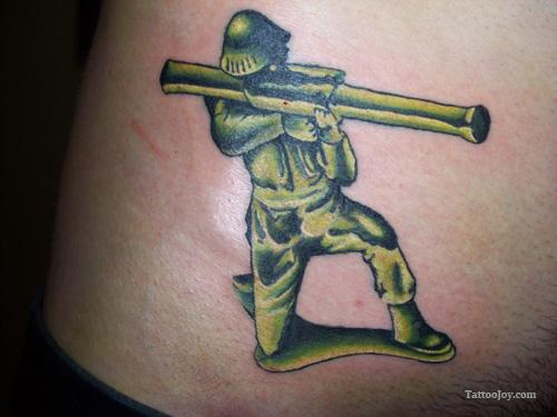 Army Man Tattoo With Green Ink