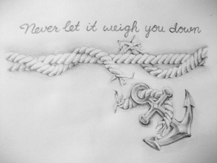 Grey Anchor Tattoo With Rope & Wording