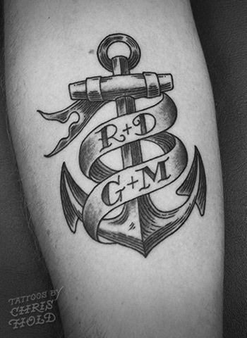 Grey Ink Banner Anchor Tattoo Design