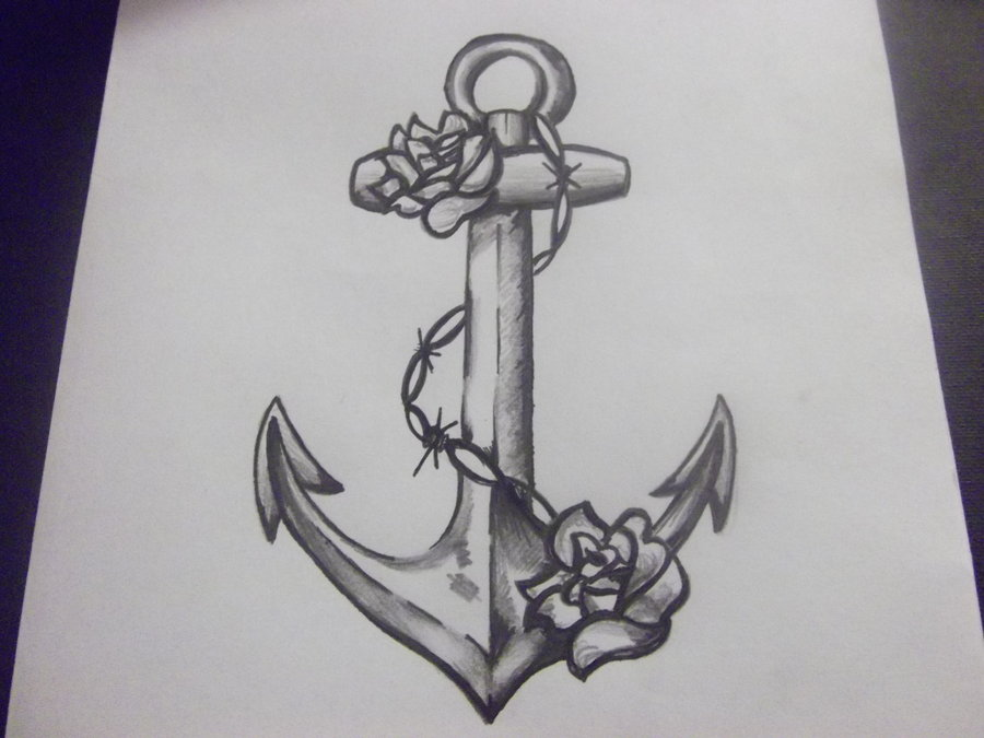 Grey Ink Anchor Symbol Tattoo With Chain