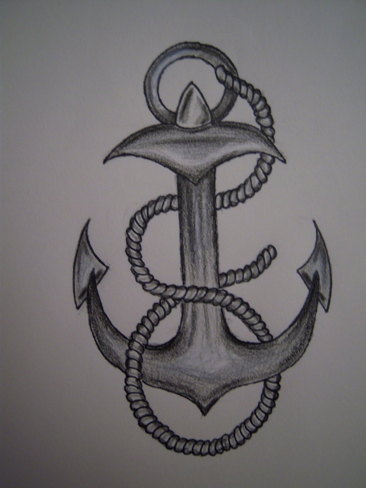 Grey Ink Anchor Tattoo Designs