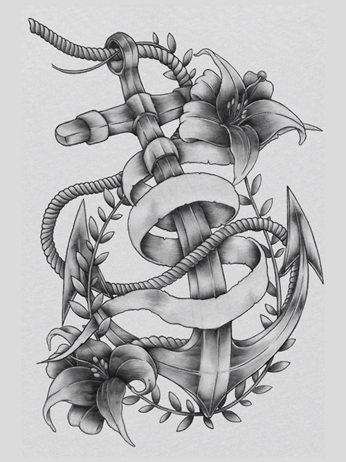 Grey Ink Anchor Tattoo With Rope & Flowers