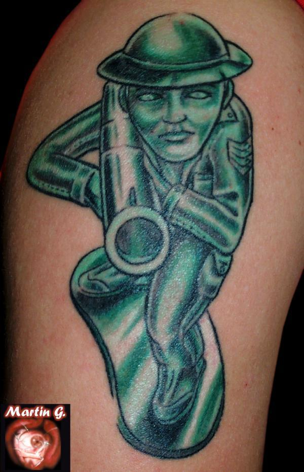 Army Woman Tattoo With Grey Ink