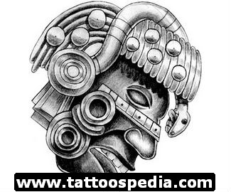 Grey Ink Aztec Face Tattoo Design
