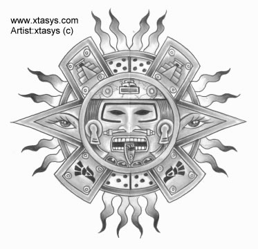Grey Ink Aztec Sun Tattoo Design