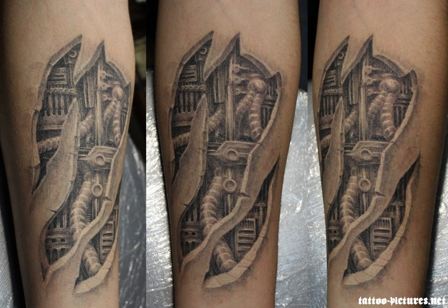 Grey Ink Biomechanical Tattoo Design