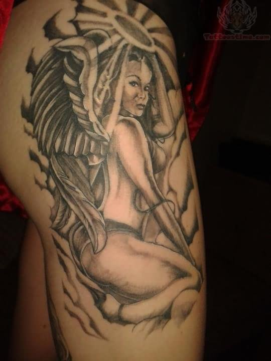 Sexy Angel Girl Tattoo Design