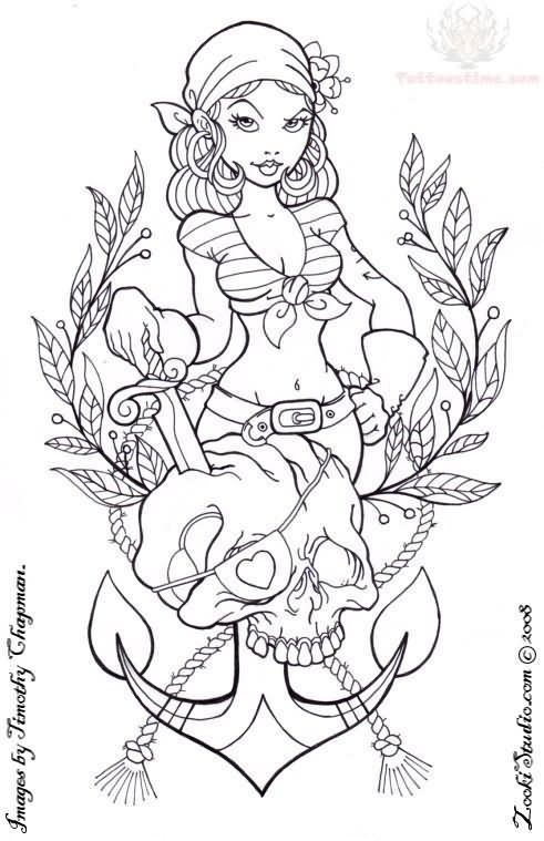 Grey Ink Pirate Girl & Anchor Tattoo Design