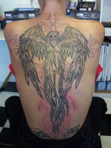 Back Angel Girl Tattoo With Grey Ink